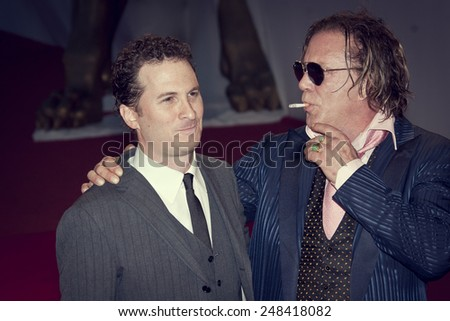 VENICE, ITALY - SEPTEMBER 05: Darren Aronofsky and Mickey Rourke attend the 'The Wrestler' premiere at the Sala Grande during the 65th Venice Film Festival on September 5, 2008 in Venice, Italy - stock photo