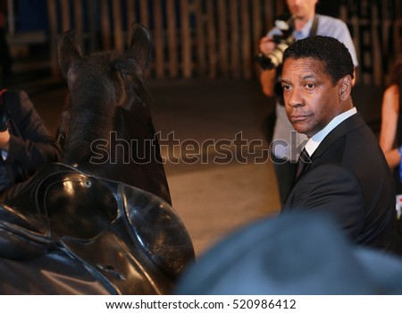 VENICE, ITALY - SEPTEMBER 10, 2016: Denzel Washington, attend the premiere of ' 'The Magnificent Seven' following the ceremony awards  during the 73th Venice Film Festival 2016 in Venice, Italy