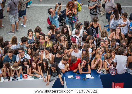 Venice, Italy - 04 September 2015: fans waiting for the actor Jhonny Depp