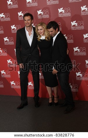 VENICE, ITALY - SEPTEMBER 01:  James D'Arcy, director/writer Madonna and actor Oscar Isaac attend the 'W.E.' Photocall during the 68th Venice  Film Festival  on September 1, 2011 in Venice, Italy - stock photo