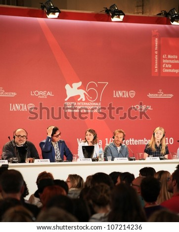 VENICE, ITALY - SEPTEMBER 04: Journalists at Sofia Coppola's press conference during 67th Venice Film Festival September 04, 2010 in Venice, Italy. - stock photo