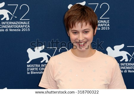 VENICE, ITALY - SEPTEMBER 05: Lou de Laage during the 72th Venice Film Festival 2015 in Venice, Italy - stock photo