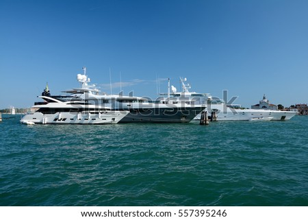Venice, Italy - September 9, 2016: Luxury Yachts moored in Venice, Italy.