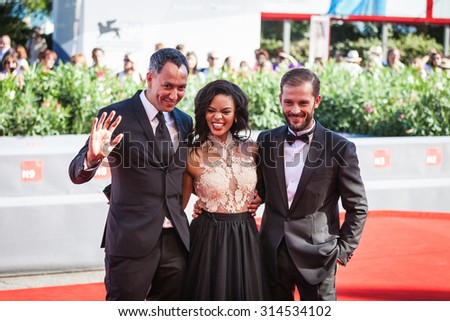 Venice, Italy - 07 September 2015: Oliver Hermanus, Crystal-Donna Roberts and Nicolas Duvauchelle attend a premiere for 'The Endless River' during the 72nd Venice Film Festival