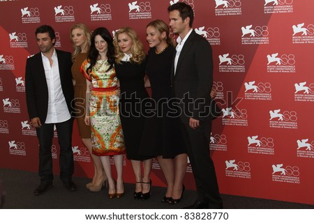 VENICE, ITALY - SEPTEMBER 01:  Oscar Isaac, Natalie Dormer, Andrea Riseborough,  Madonna, Abbie Cornish attend the 'W.E. Photocall during the 68 Venice Festival  on September 1, 2011 in Venice, Italy. - stock photo