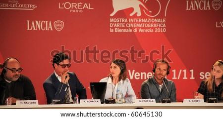 VENICE, ITALY - SEPTEMBER 03: Sofia Coppola talks at press conference during 67th Venice Film Festival September 03, 2010 in Venice, Italy. - stock photo