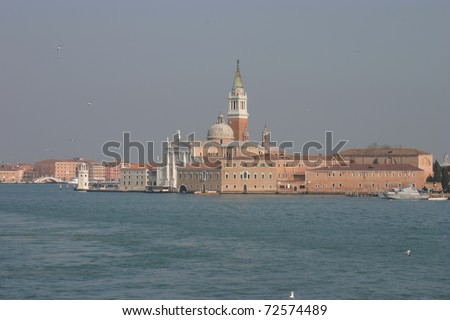 Venice, Italy, view of Giudecca Island and San Giorgio cathedral