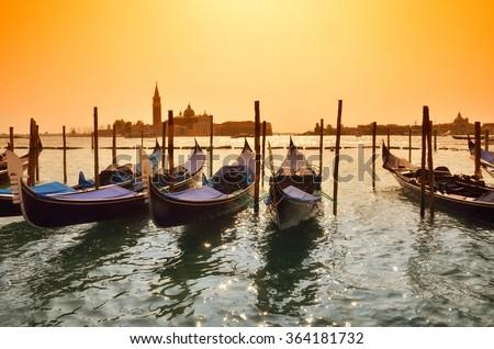 Venice landscape at sunset,Italy - stock photo