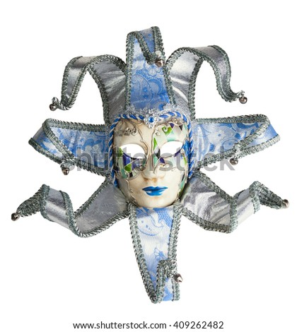 Venice mask isolated white with clipping path - stock photo