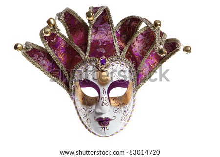 Venice mask with clipping path (isolated on white background) - stock photo