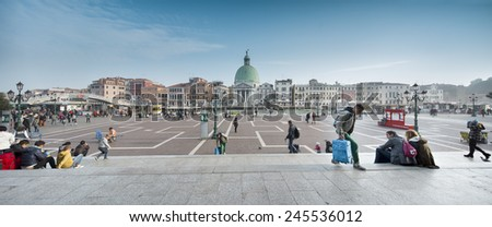 Venice, November 3, 2014: view of Venice from Santa Lucia Railway Station, looking at the Grand Canal and San Simeone Piccolo church cupola. - stock photo