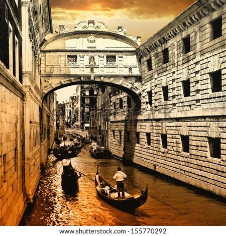 Venice on sunset. bridge of sights - stock photo