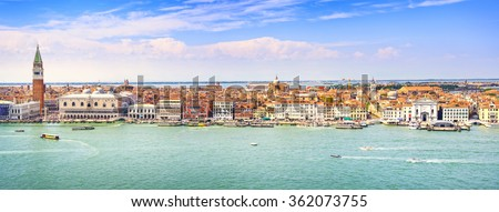 stock photo venice panoramic landmark aerial view of piazza san marco or st mark square campanile and ducale 362073755 - Каталог — Фотообои «Венеция»