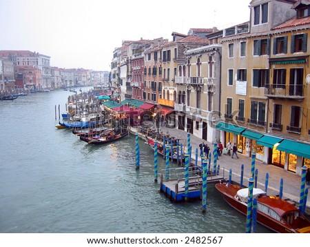 Venice scenery from the Rialto Bridge - stock photo
