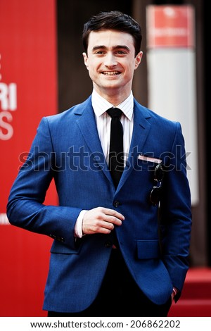 """VENICE - SEPTEMBER 01: Daniel Radcliffe attend """"Kill your darlings' Premiere during the 70th Venice Film Festival on September 04, 2013 in Venice, Italy - stock photo"""