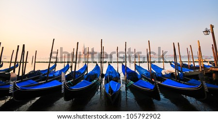 Venice, view of San Giorgio Maggiore with gondolas from San Marco - stock photo