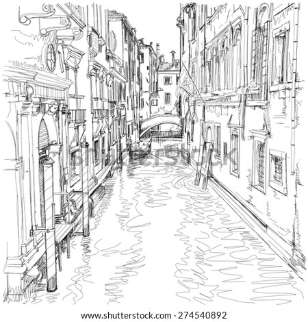 Venice - water canal, old buildings & gondola away. Black & white sketch