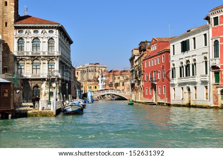 Venice water street. View from Grand Canal. Italy - stock photo