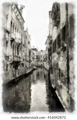 Venice watercolor illustration. Italy.