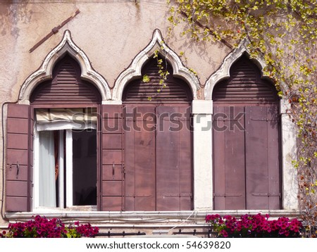Venice window - stock photo