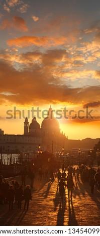Venice with  basilica of santa maria della salute against sunset  in Italy - stock photo