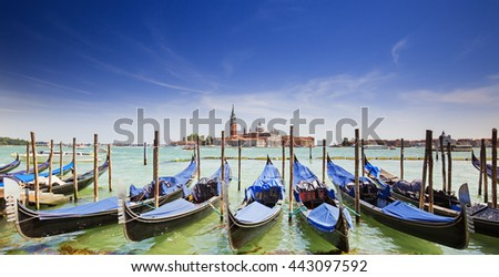 Venice with gondolas on Grand Canal against San Giorgio Maggiore church,Venice,Italy  - stock photo