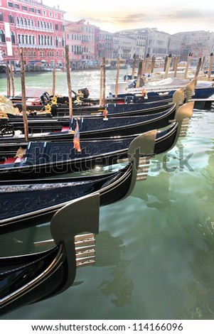 Venice with gondolas on Grand canal in Italy - stock photo