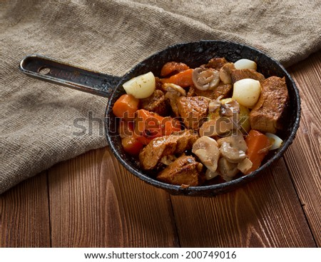 venison ragout - farm-style old rustic.country cuisine - stock photo