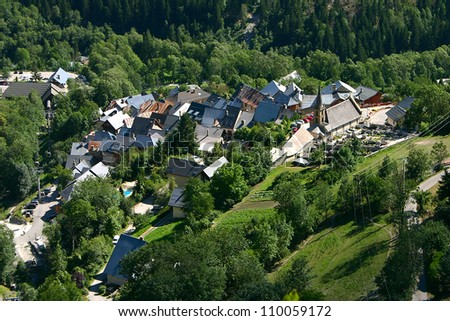 Venosc seen from the top of Les Deux Alpes - stock photo