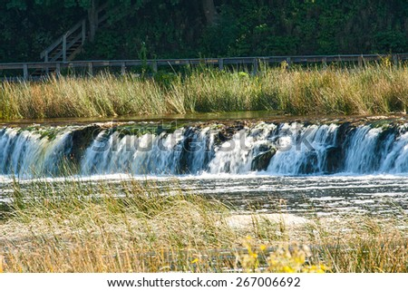 Ventas Rumba on the river Venta in Latvia the widest waterfall in Europe - stock photo