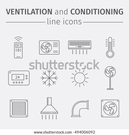 Ventilation and conditioning. Climate control. Thin line icon set.