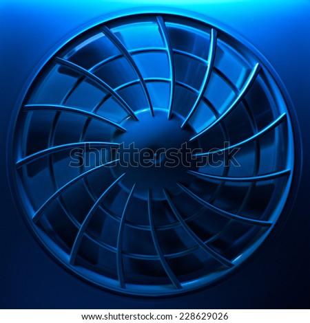 Ventilation fan in blue light - stock photo