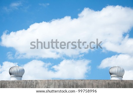 ventilation of a warehouse across the sky - stock photo
