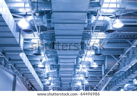 ventilation pipe of an air condition for fresh environment - stock photo