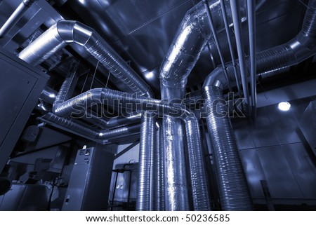 Ventilation pipes of an air condition - stock photo