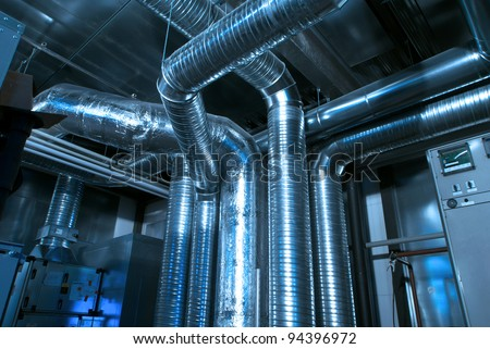 Ventilation pipes of industrial air condition - stock photo
