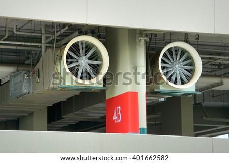 Ventilation System Parking Lot. - stock photo