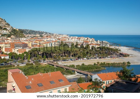 Ventimiglia is a city and comune in Liguria, northern Italy, in the province of Imperia. It is located 7 km from the French-Italian border - stock photo