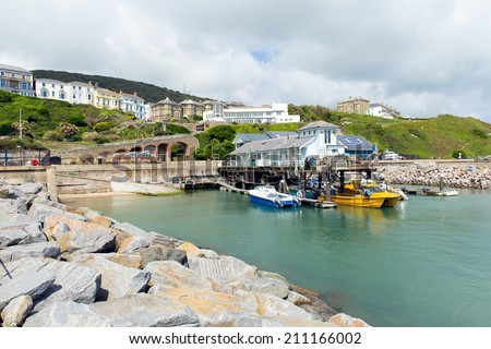 Ventnor harbour Isle of Wight large island in southern England in the English Channel off the Hampshire coast separated from mainland UK by the Solent - stock photo