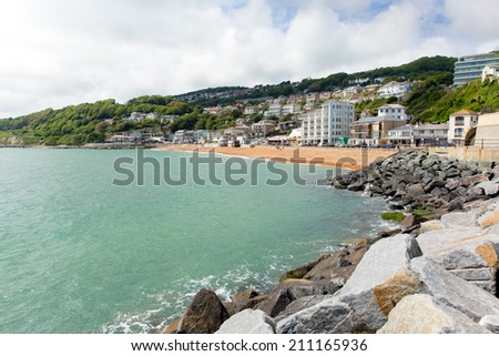 Ventnor seafront and beach Isle of Wight south coast of the island tourist town - stock photo