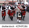 VENTURA, CA - OCTOBER 11: - Bagpipe bands participating in a parade at the Ventura Seaside Highland Games October 11, 2009 in Ventura, CA - stock photo