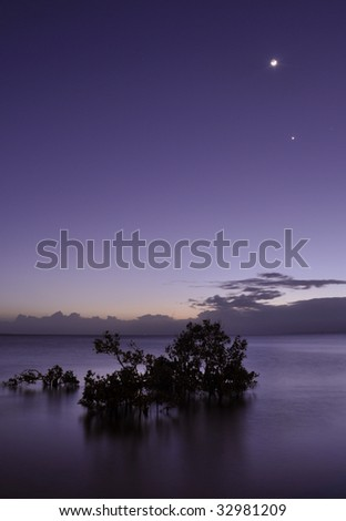 Venus and the moon - stock photo