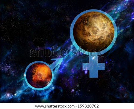 Venus is contained in the symbol of Venus, Mars entered into a symbol of Mars  - stock photo