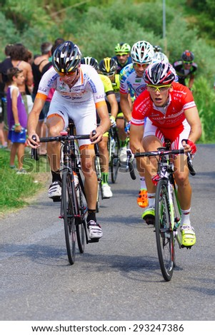 VERGAIO, ITALY - JUNE 28: Cyclists during the Trofeo Fiaschi on June 28, 2015 in Vergaio, Italy - stock photo