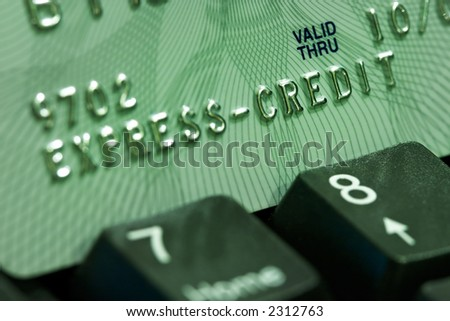 Verification of a credit card through the Internet-modern way of financial operations - stock photo