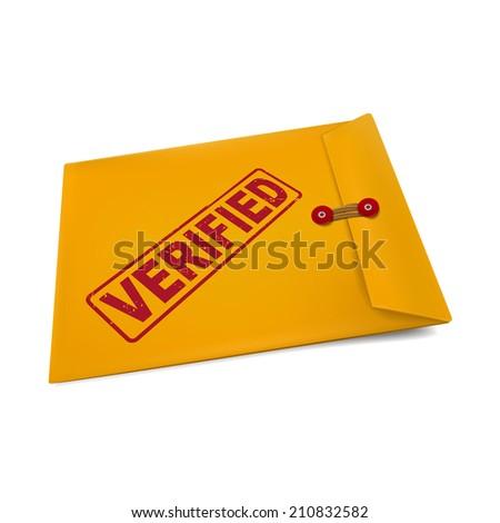 verified stamp on manila envelope isolated on white - stock photo