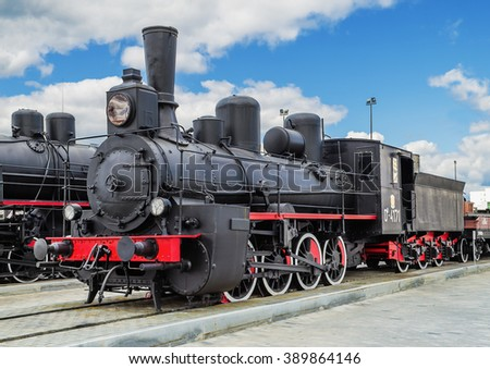 VERKHNYAYA PYSHMA, RUSSIA - JUNE 11, 2015: Train with steam locomotive series Ov - exhibits of the Museum of military equipment.