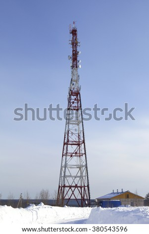 Verkhovazhye, Vologda region, Russia - 28 March 2013: TV tower in the village Verhovazhe