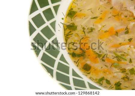 vermicelli soup on a white background - stock photo