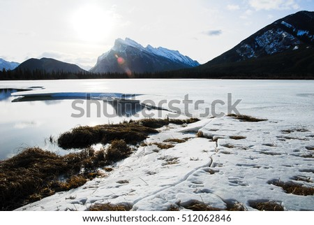Vermilion Lake in Winter, Canadian Rockies, Alberta, Canada